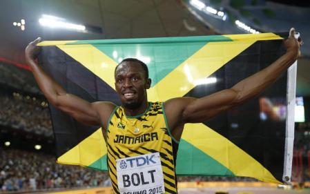 23 Aug 2015 --- (150823) --BEIJING, Aug 23, 2015 (Xinhua) -- Jamaica's Usain Bolt celebrates after winning the men's 100m final at the 2015 IAAF World Championships in Beijing, capital of China, on Aug. 23, 2015. (Xinhua/Wang Lili) --- Image by © Wang Lili/xh/Xinhua Press/Corbis